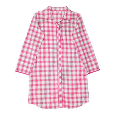 Minijammies Girls Pink Molly Woven Long Sleeve Check Nightshirt