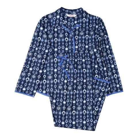 Minijammies Girls Blue Josie Woven Long Sleeve Navy Geo Print Pyjamas