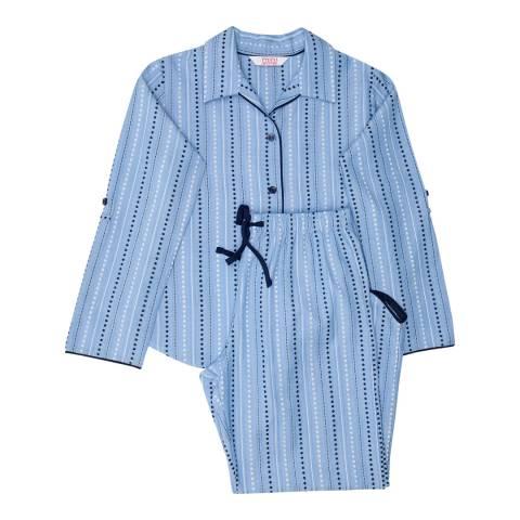Minijammies Girls Blue Josie Woven Spot Dobby Stripe Turn up Sleeve Pyjamas