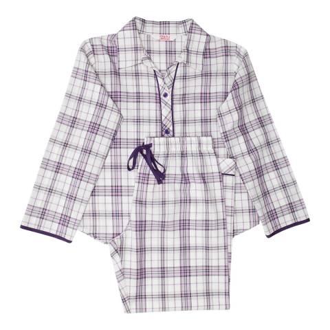 Minijammies Girls Purple Abigail Woven Long Sleeve Check Pyjamas