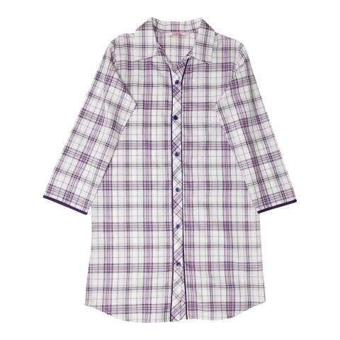 Minijammies Girls Purple Abigail Woven Long Sleeve Check Nightshirt