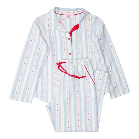 Minijammies Girls Blue Matilda Woven Long Sleeve Heart Dobby StripePyjamas
