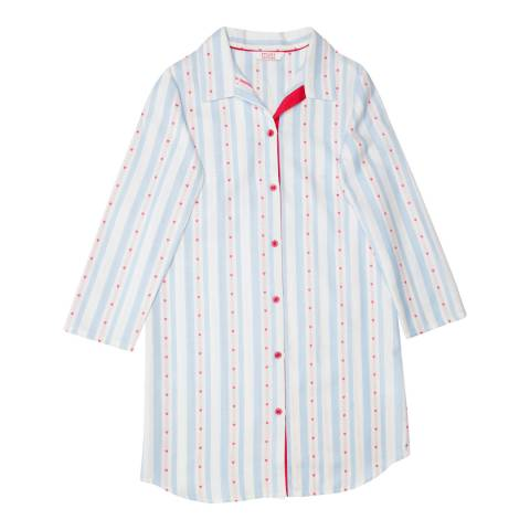 Minijammies Girls Blue Matilda Woven Long Sleeve Heart Dobby Stripe Nightshirt