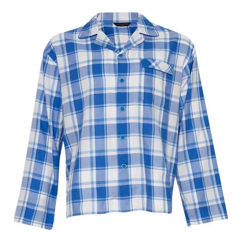 Cyberjammies Blue Sydney Woven Long Sleeve Check Pyjama Top