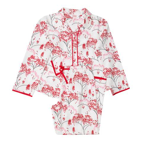 Minijammies Girl's Red Erin Woven Floral Print Brushed Long Sleeve Pyjamas