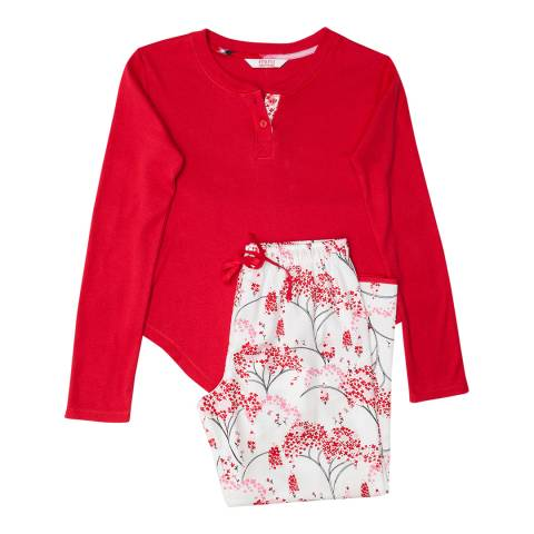 Minijammies Girl's Red Erin Knit Long Sleeve Top and Woven Brushed Floral Print Pyjama Set