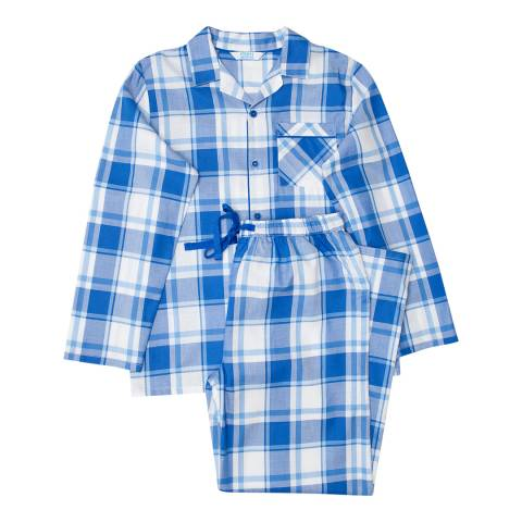 Minijammies Boy's Blue Sydney Woven Check Long Sleeve Pyjamas