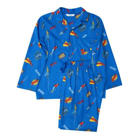 Minijammies Boy's Blue Sydney Woven Superhero Print Long Sleeve Pyjamas