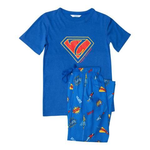 Minijammies Boy's Blue Sydney Thermaknit T-shirt and Woven Superhero Print Pyjama Set