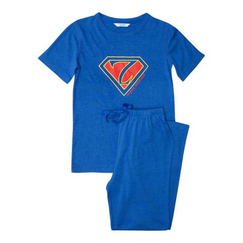 Minijammies Boy's Blue Sydney Short Sleeve Placement Print Thermaknit Pyjamas
