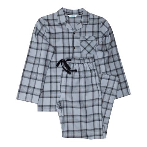 Minijammies Boy's Grey Max Woven Check Long Sleeve Pyjamas