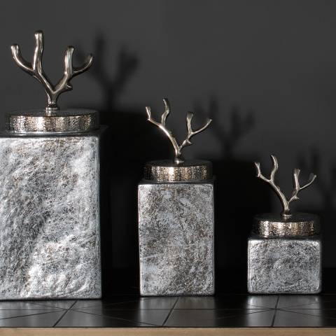 Gallery Silver Foil Glass Larsen Medium Jar