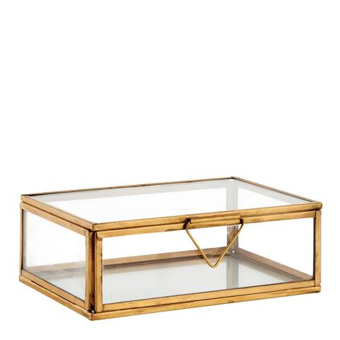 Gallery Clear Glass/Aged Brass Portis Box Small