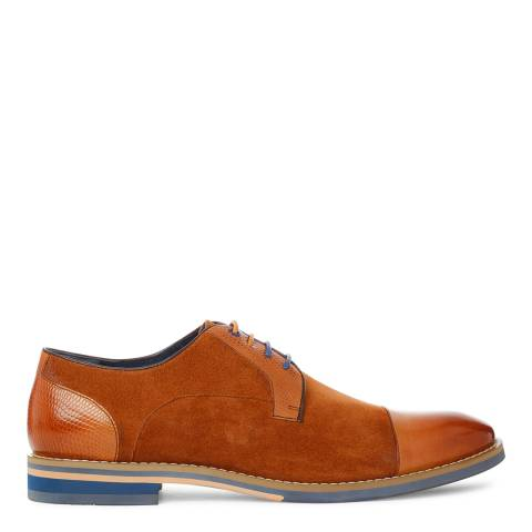 Justin Reece Mens Tan Suede/Leather Zach Derby Shoes