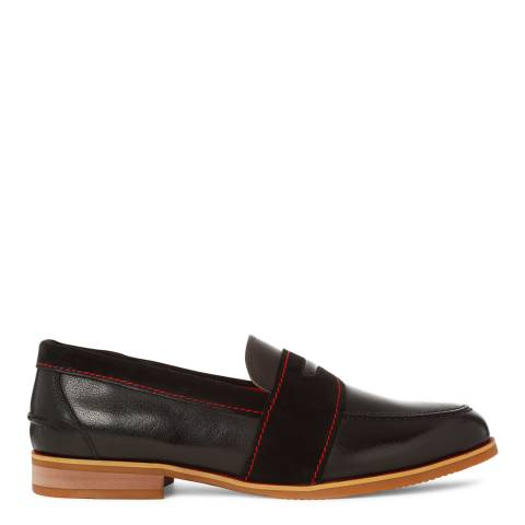 Justin Reece Mens Black Leather/Suede Benjamin Loafers