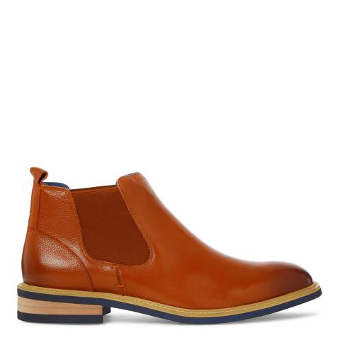 Justin Reece Mens Tan Leather Ethan Chelsea Boots