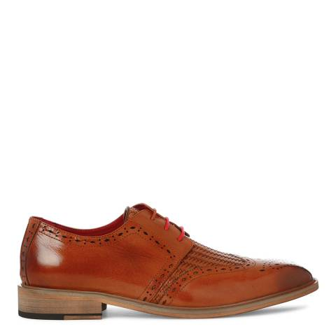 Justin Reece Mens Brown Leather Timothy Woven Brogues