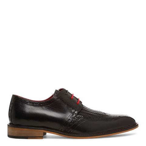 Justin Reece Mens Black Leather Timothy Woven Brogues