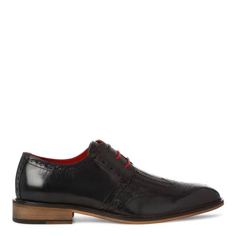 Justin Reece Mens Dark Navy Leather Timothy Woven Brogues