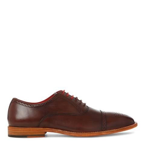 Justin Reece Mens Brown Leather Taylor Brogue Shoes