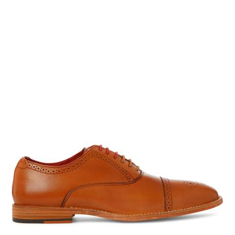 Justin Reece Mens Tan Leather Taylor Brogue Shoes