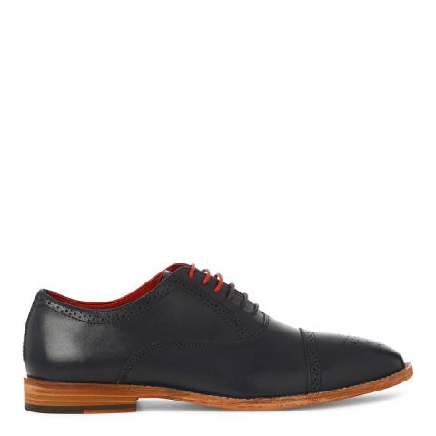 Justin Reece Mens Navy Leather Taylor Brogue Shoes