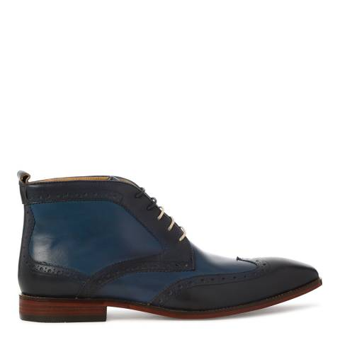 Justin Reece Mens Navy Blue Leather Morgan Brogue Boots