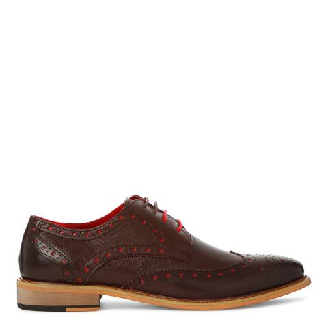 Justin Reece Mens Brown/Red Leather Edward Brogues
