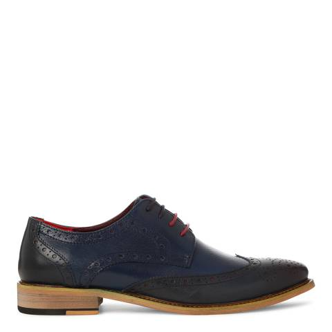 Justin Reece Mens Navy/Red Leather Edward Brogues