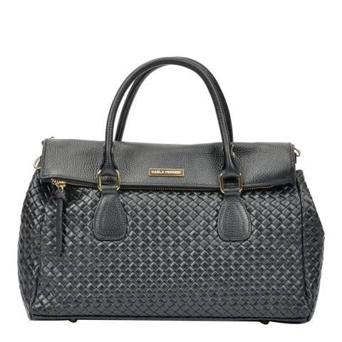 Carla Ferreri Black Leather Zip Tote Bag