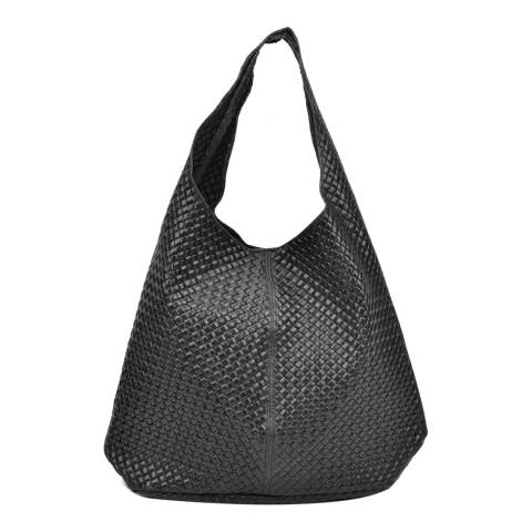 Mangotti Black Leather Tote Bag