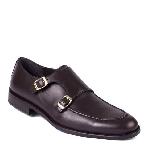 Ortiz & Reed Dark Brown Leather Bumonk Monkstrap Shoes