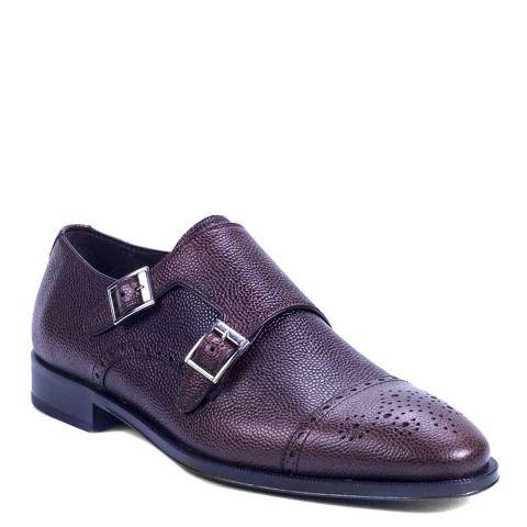 Ortiz & Reed Dark Brown Grained Leather Timonk Monkstrap Shoes