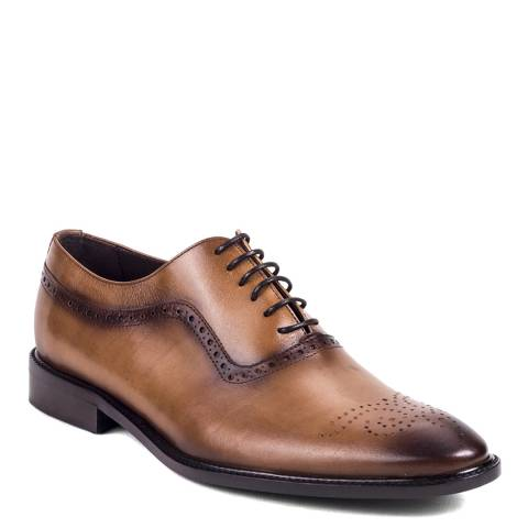 Ortiz & Reed Tan Brown Burnished Leather Calderon Oxford Shoes