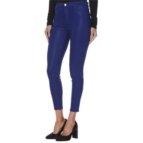 J Brand Coated Blue Alana High Rise Crop Stretch Jeans