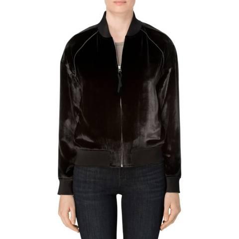 J Brand Black Velvet Pace Bomber Jacket
