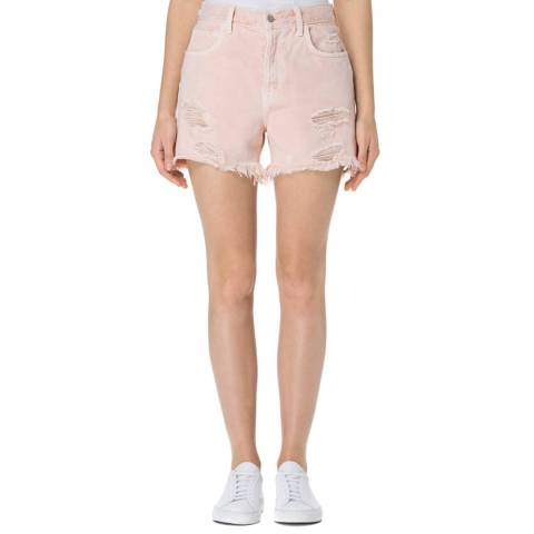 J Brand Coquette Pink Ivy High Rise Crop Straight with Jagged Hem