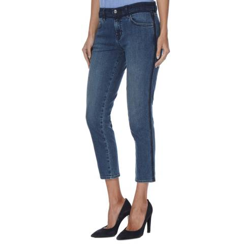 J Brand Point Blank Blue Sadey Mid Rise Straight Jeans