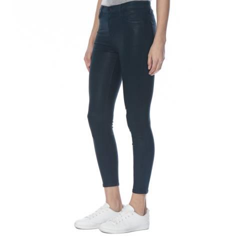 J Brand Coated Emerald Alana High Rise Crop Stretch Jeans