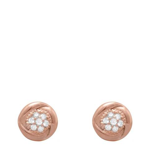 Chloe Collection by Liv Oliver Rose Gold Pave Cz Stud Earrings