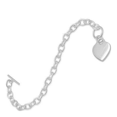 Chloe Collection by Liv Oliver Silver Heart Charm Bracelet