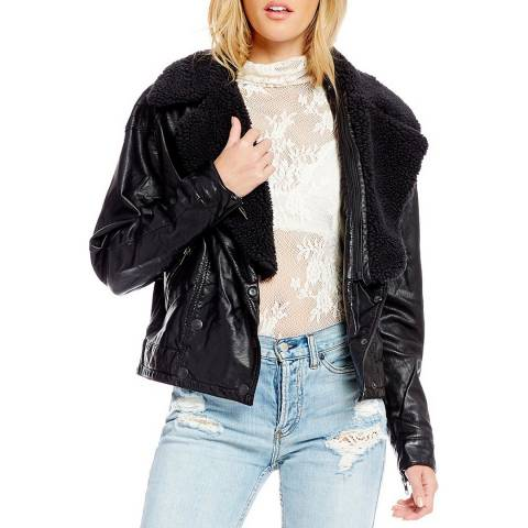 Free People Black Halen Vegan Moto Jacket
