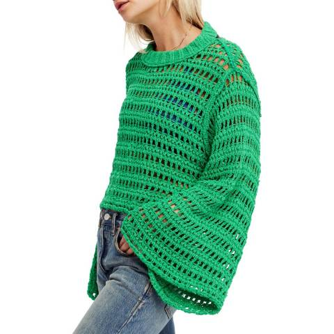 Free People Kelly Green Caught Up Crochet Top