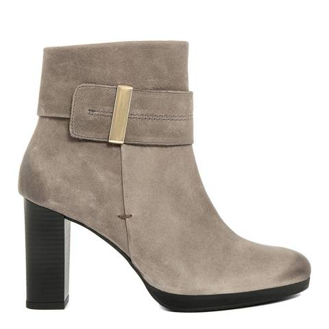 Roberto Carrioli Grey Leather Ankle Strap Detail Ankle Boots