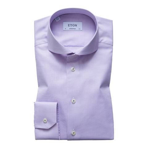 Eton Shirts Lilac Contempoary Micro Weave Cotton Shirt