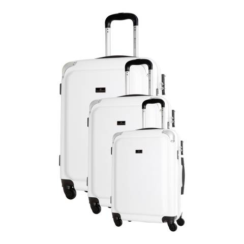 Platinium Set of 3 White Spinner Robinson Suitcases 50/60/73cm