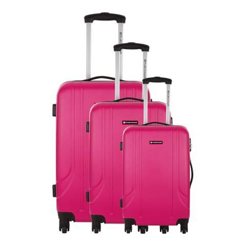 Platinium Set of 3 Fuchsia Spinner Canoa Suitcases 45/55/65cm