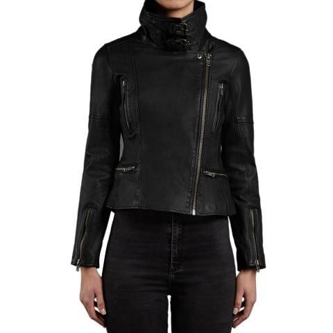 Muubaa Black Nobel Leather Biker Jacket