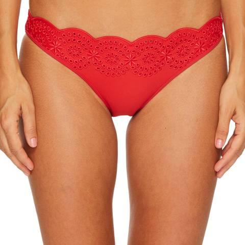 Stella McCartney Red Broderie Anglaise Classic Bikini Briefs
