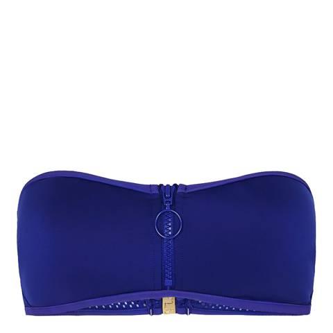 Stella McCartney Blue Neoprene and Mesh Bandeau Bikini Top